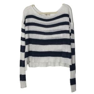 Hollister Striped White and Navy Pullover Sweater